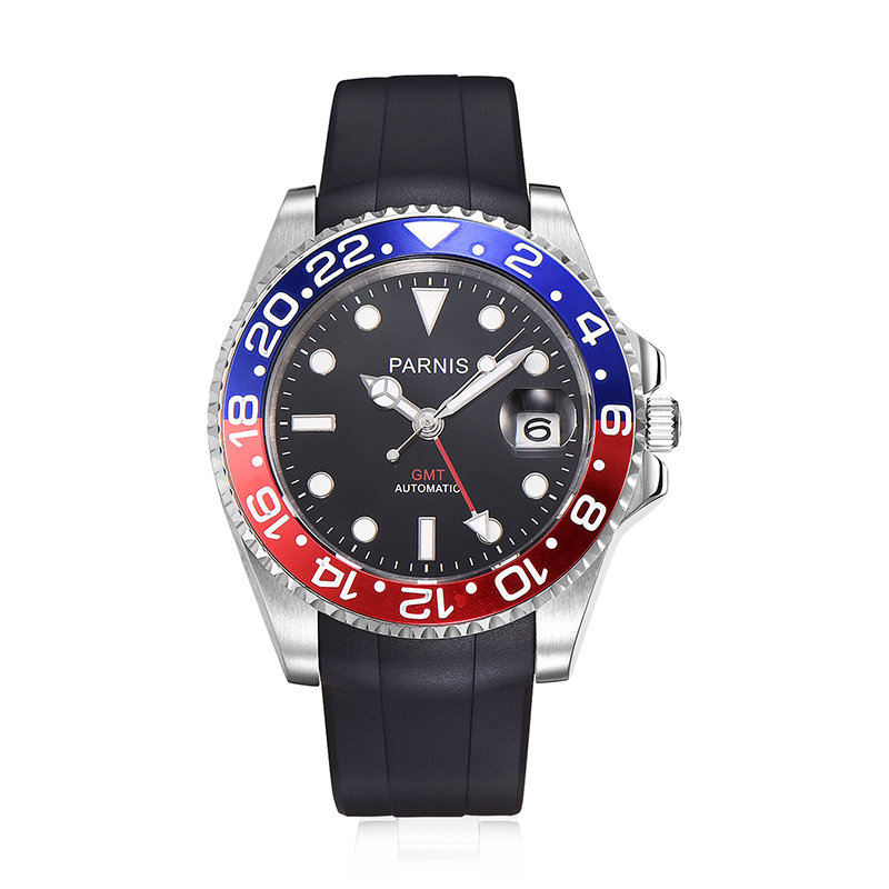 Parnis 40mm Mechanical Men Watches GMT Sapphire Crystal Automatic Diver Mens Watch Clock mecanique automatique hommes montreParnis 40mm Mechanical Men Watches GMT Sapphire Crystal Automatic Diver Mens Watch Clock mecanique automatique hommes montre