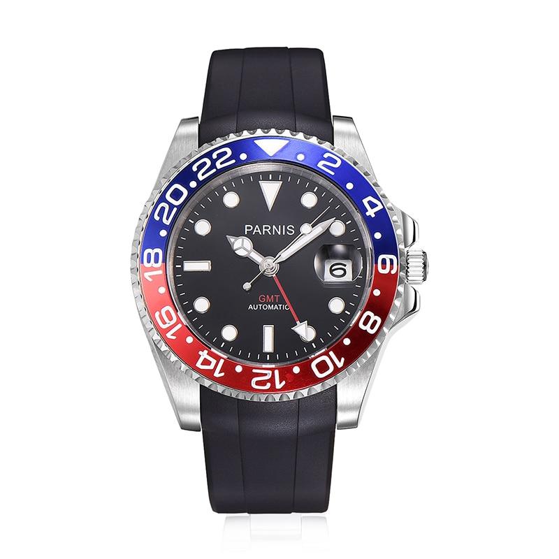 Parnis 40mm mechaniczne zegarki męskie GMT szafirowe automatyczny Diver zegarek męski zegar mecanique automatique hommes montre w Zegarki mechaniczne od Zegarki na  Grupa 1