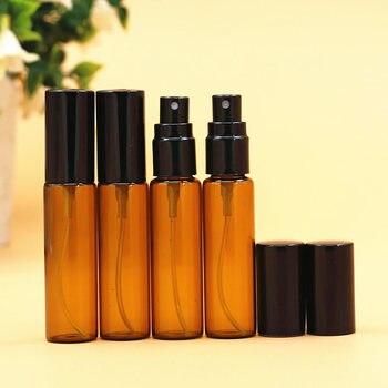 100pcs/lot 10ml Empty Amber Spray Glass Atomizer Perfume Bottle With Aluminum Cap Refillable Parfum Bottle Vials Travel Bottle