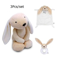 3Pcs/Set Baby Rabbits Toy Stuffed Animal Plush Toys Puppy Doll Round Rattles Comforting Towel Infant Education Birthday Gifts