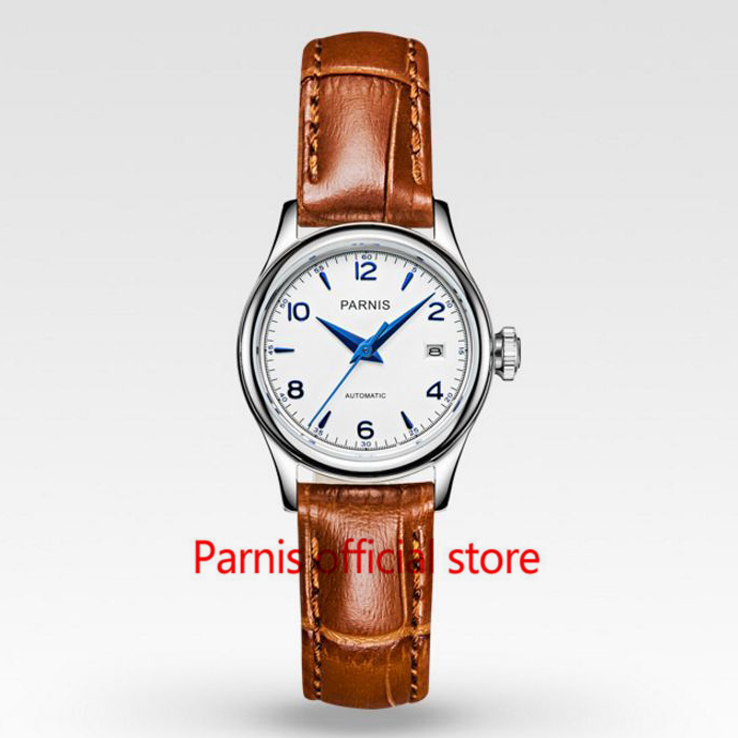 font b Womens b font 27mm Parnis White Dial Blue Mark Sapphire Crystal Japan Miyota