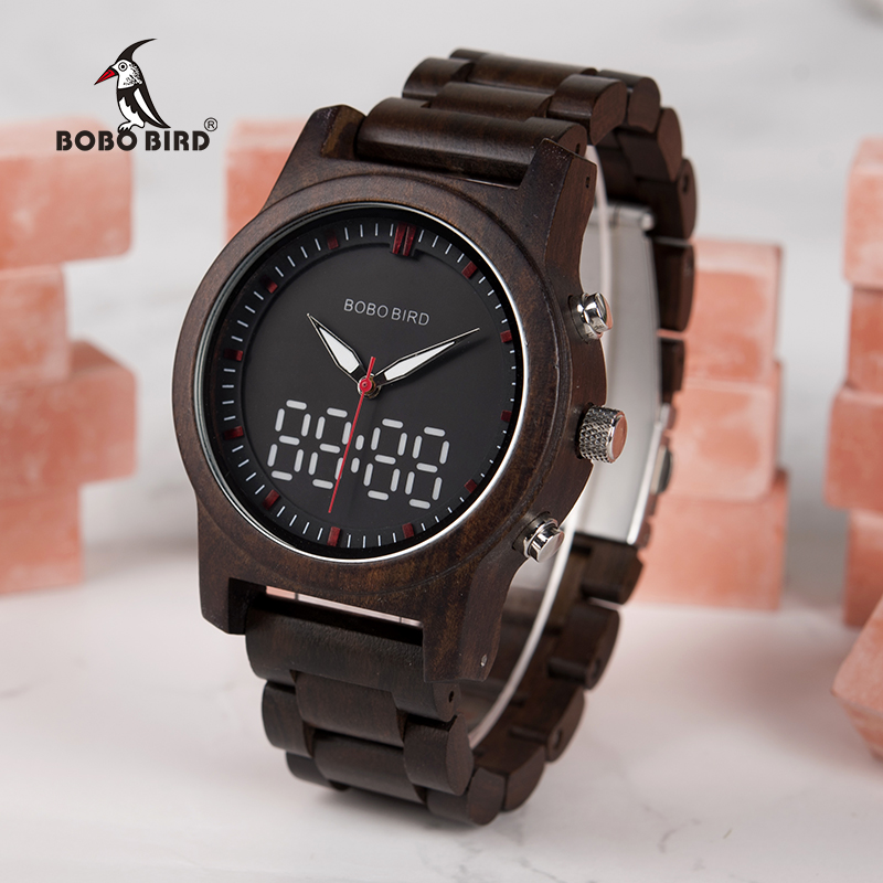 BOBO BIRD Men Watches Digital And Quartz Wristwatch Dual Display Wooden Watch New Design Timepieces C-R02