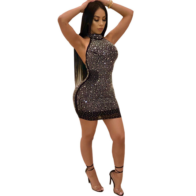 e9b3d6d30f1 Aliexpress Explosions Amazon Women s Ebay Hanging Neck Open Back Mesh Hot  Diamond Sexy Nightclub Dresses