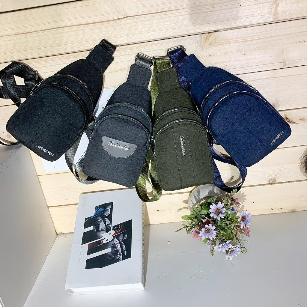 Mens Bag Messenger-Bag Shoulder Multi-Pocket Women Solid Retre Outdoor