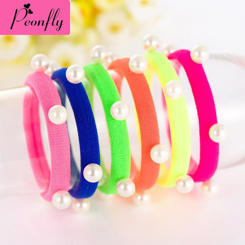 Korean Pearl Towel Ring Candy Color Ring Hair Headdress Jewelry Wholesale Cute Hair Accessories For Women