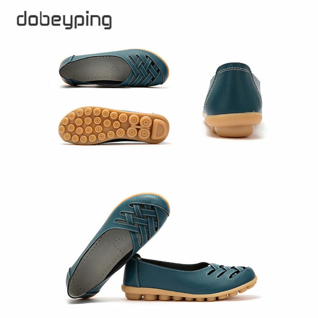 New Women's Casual Shoes Genuine Leather Woman Loafers Slip On Female Flats Leisure Ladies Driving Shoe Solid Mother Boat Shoes 5