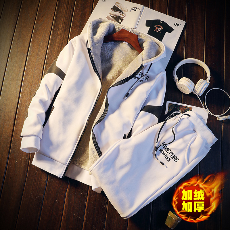 Casual Mens Tracksuit Set Winter Two Piece Sets Fleece Thick Warm Hooded Jacket + Pants Sporting Suit Male Trainingspak
