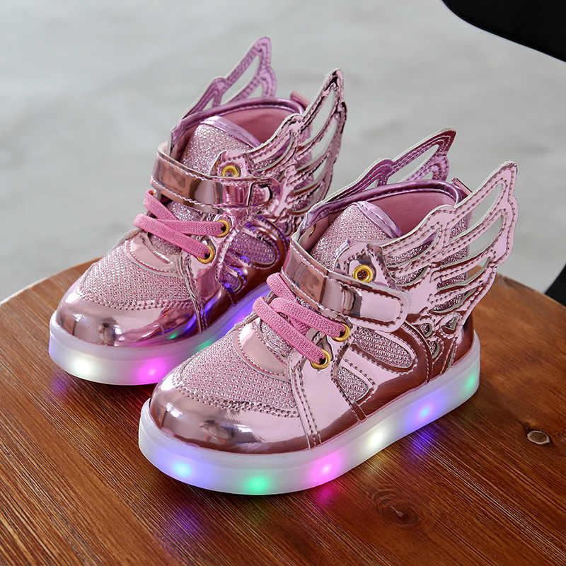 1889f0437 Детская обувь со светом Новые Детские освещенные Обувь мальчик девочка  светодиод мигает Обувь детские модные кроссовки