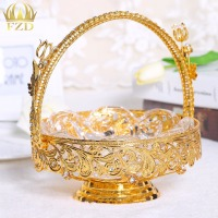 1 Piece Hollow Metal Fruit Serving Tray Golden Candy Plate Dessert Blows For Wedding Party And