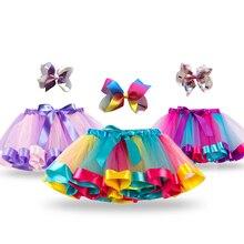 Юбка-пачка принцессы с единорогом; летняя одежда для маленьких девочек; Радужная детская Праздничная юбка-пачка для девочек; детская разноцветная мини-юбка-американка