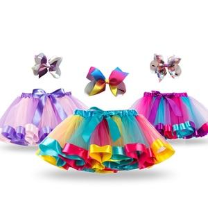 Unicorn Princess Tutu Skirt Baby Girls Summer Clothes Rainbow Kids Party Tutu for Girl Skirts Children Colorful Mini Pettiskirt(China)