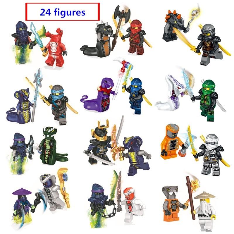 24 Ninjago chiffres avec arme Ghost Mauvais Ninja Pythor Chop'rai Mezmo Serpentine compatible avec lego blocs de construction jouets cadeau