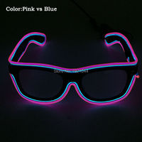 High Grade 3V Sound Activated Two Color EL Wire Glasses LED Sunglasses Neon Glow Light For
