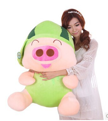 Stuffed animal 80cm pig plush toy McDull pig watermelon hat design doll throw pillow gift w3552 gift fruit style watermelon pineapple grapes mcdull pig soft coral velvet baby blanket cushion hand warm stuffed toy gift 1pc