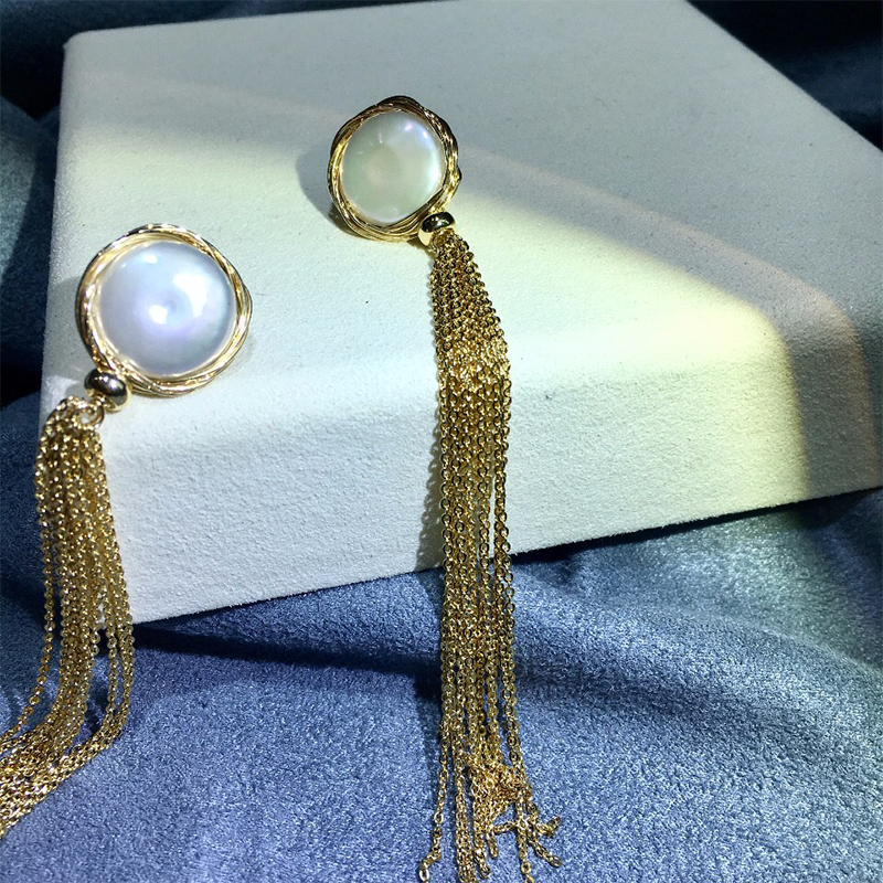 ANI 14k Roll Yellow Gold Women Dangle Earring Natural White Baroque Shape Pearl Drop Earrings Handmade Jewelry Hyperbole Tassel in Earrings from Jewelry Accessories