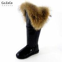 G&Zaco Winter Genuine Leather Snow Boots Natural Fox Fur Knee- High Boots Waterproof Flat Heel Women Long Raccoon Fur Boots