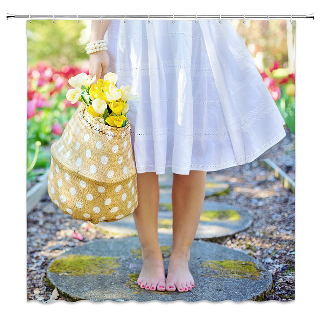 Fashion Shower Curtain Barefoot Girl In White Dress Holding Flower Basket Beautiful Bathroom Decoration Polyester