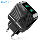 RAXFLY USB Mobile Phone Charger For Iphone Dual Ports EU Travel Charging Wall USB Charger Adapter Fast Charge For Samsung Xiaomi
