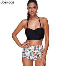 JOYMODE Hohe Taille Bikini Set Retro Floral Halter Neck Badeanzug Plus Größe XXL 3XL Gepolsterte Frauen Bademode Verband Biquinis Mujer