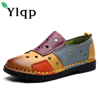 Candy Colors Vintage Handmade Genuine Leather Shoes Women Retro Soft Bottom Flat Shoes Summer Patchwork Ballet