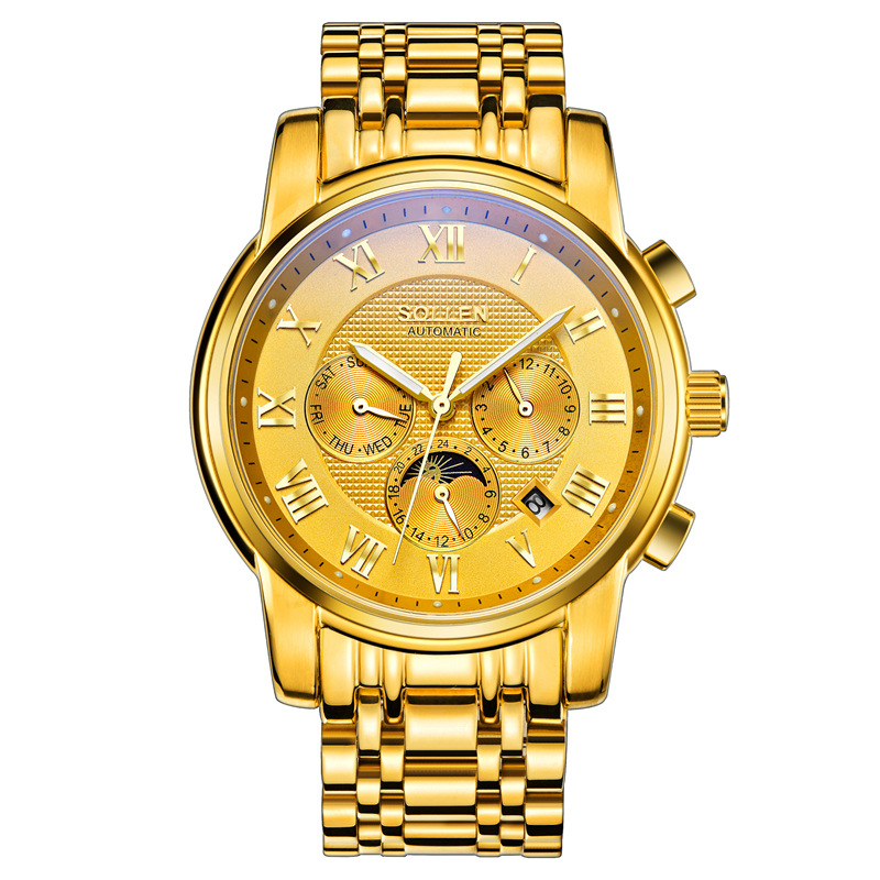 SOLLEN New Luxury Brand All Steel Men Watch Business Fashion Watches Automatic Machinery Wristwatches relogio feminino luxury brand sollen men s business watch automatic machinery stainless steel milanian wristband successful man watches male new