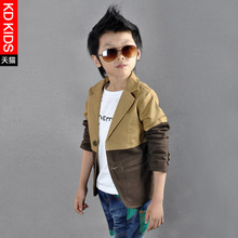 JENYA New Boys Jacket Blazer Casual All-Match Spring and Autumn Contrast Color Kids Outwear Boys Fashion Suit Boys Khaki Coat
