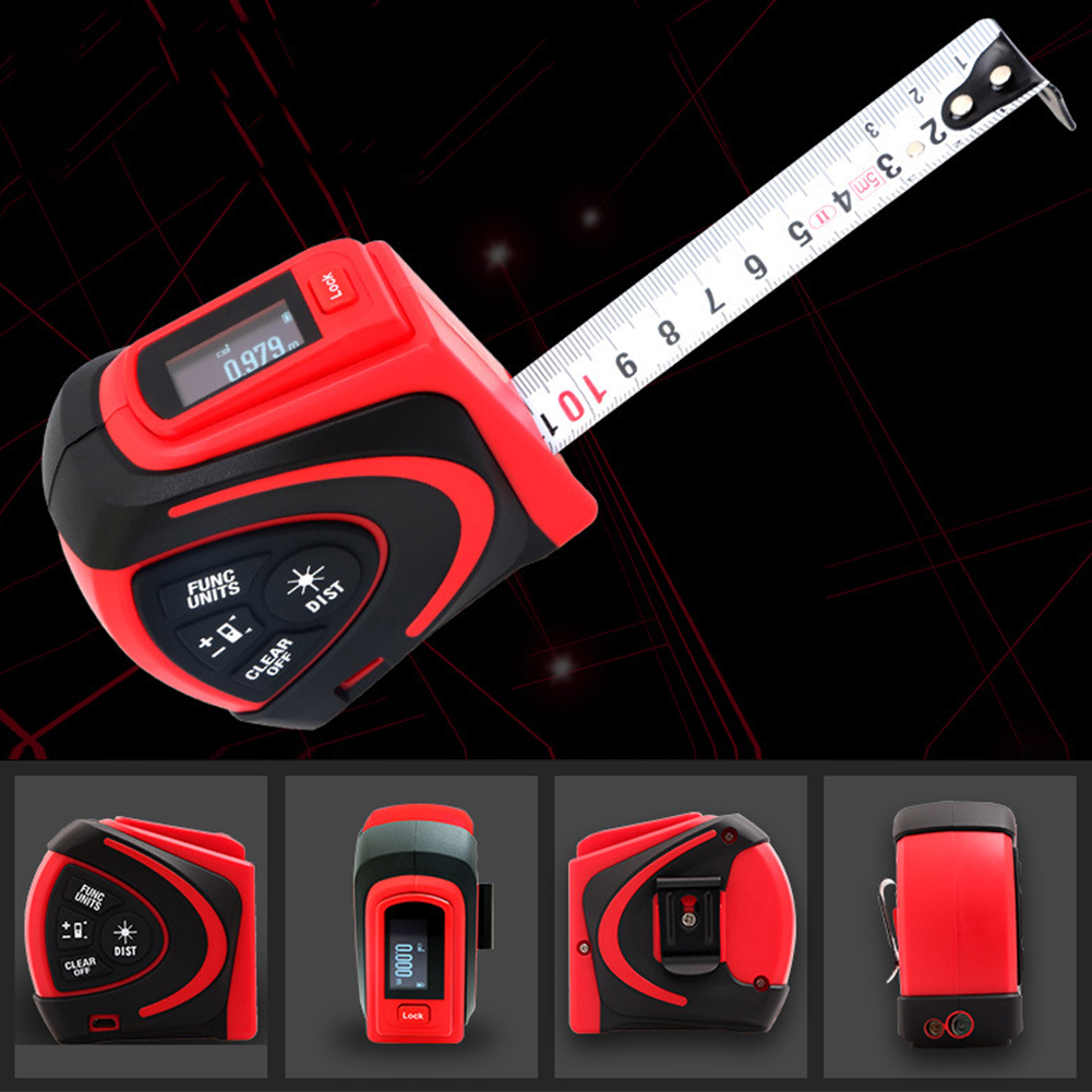 2 In 1 Distance Meter Port Tools Digital Tape Waterproof Measure LCD Display Built In Battery Rechargeable USB Charging Test