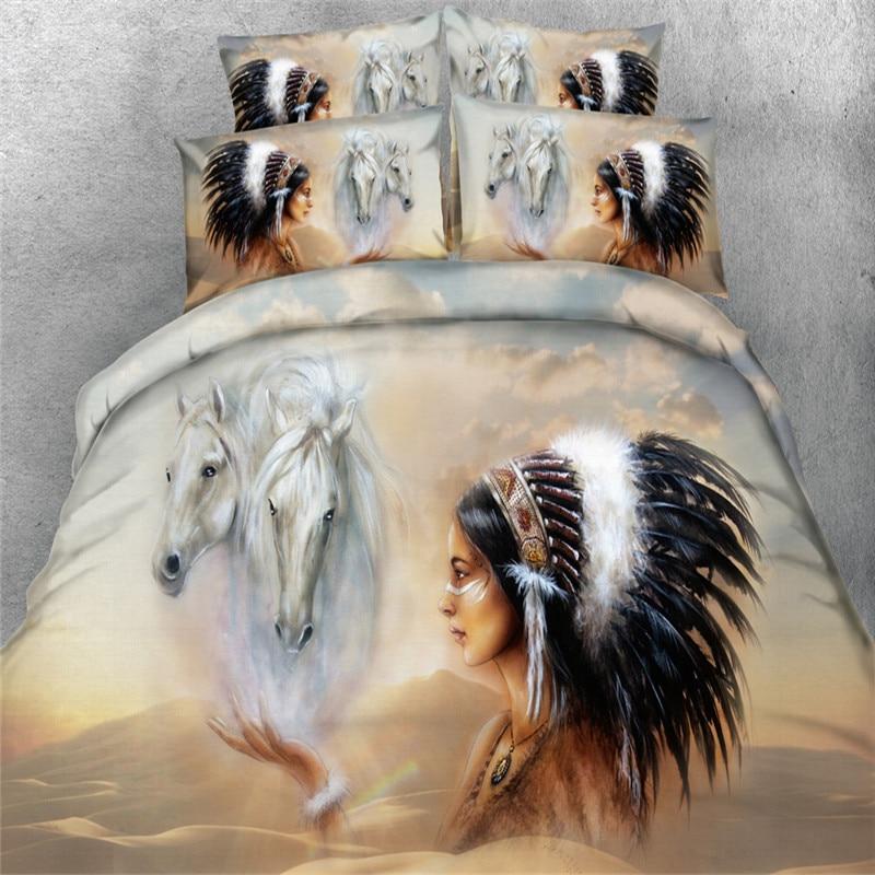 3d Төсек жинағы White Horse Үнді стилі 4 / 3PC - Үй тоқыма - фото 2