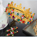 Super Luxurious Vintage Baroque Circle Tiaras Colorful Queen Crown Crystal Simulated Pearl Jewelry Headpiece Bridal Hairband