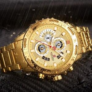 Image 4 - NAVIFORCE Men Watches Sport Waterproof Stainless Steel Fashion Luxury Gold Watch Date Clock Quartz Wristwatch Relogio Masculino