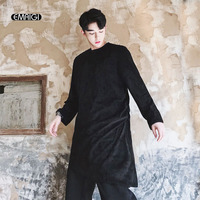 Men Suede Long Sleeve Casual T shirt High Street Hip Hop Punk Gothic Style Irregular Long Tee Shirt Male Stage Clothes