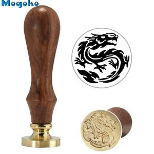Восковая печать с деревянной ручкой Mogoko, штемпели, с буквенным принтом, для декора кошек, собак, Хэллоуина, летучих мышей, драконов, танцев, ангельских узоров