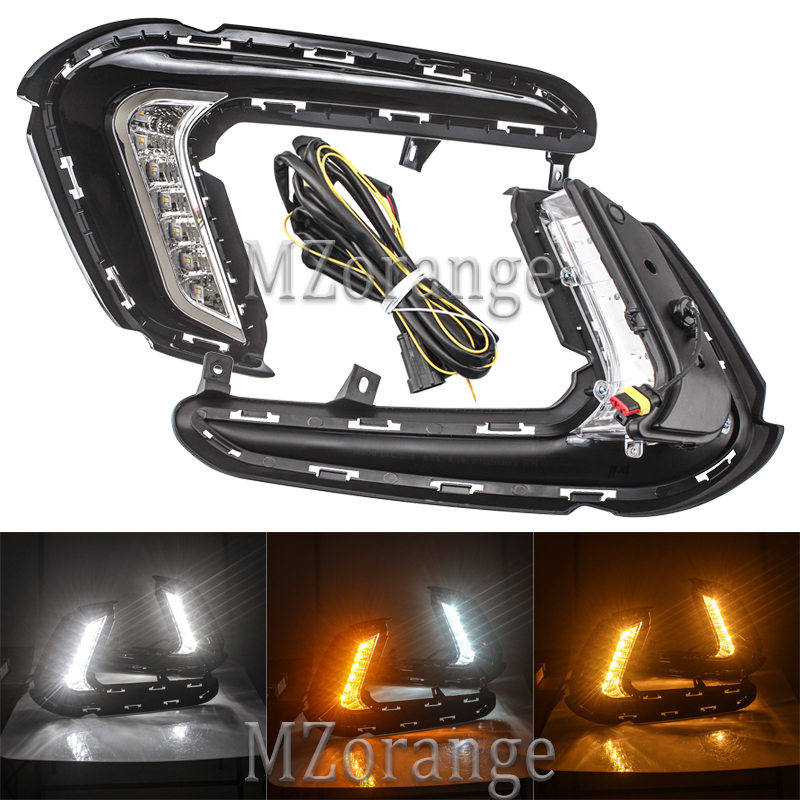 MZORANGE 1 Pair Daytime Running Lights LED for Hyundai Elantra 2016 2017 Fog lamp cover DRL White with yellow turn signal lamps-in Car Light Assembly from Automobiles & Motorcycles    1