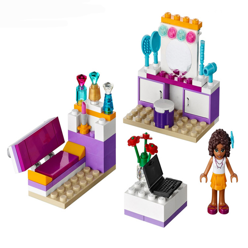 10153 Friends Girl Andrea Bedroom Building Blocks Toys Sets Intellectual Develop BELA Toy Bricks Compatible Friends 41009 friends city park cafe building blocks toy set diy educational toys figure bricks toys compatible bela 10162 lepins friends 3061