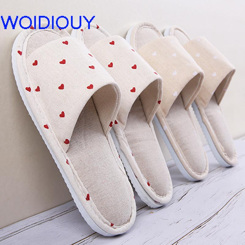 купить Heart Printing Natural Flax Home Slippers Indoor Floor Shoes Silent Sweat Slippers For Summer Women Sandals Slippers Shoes Women по цене 284.91 рублей