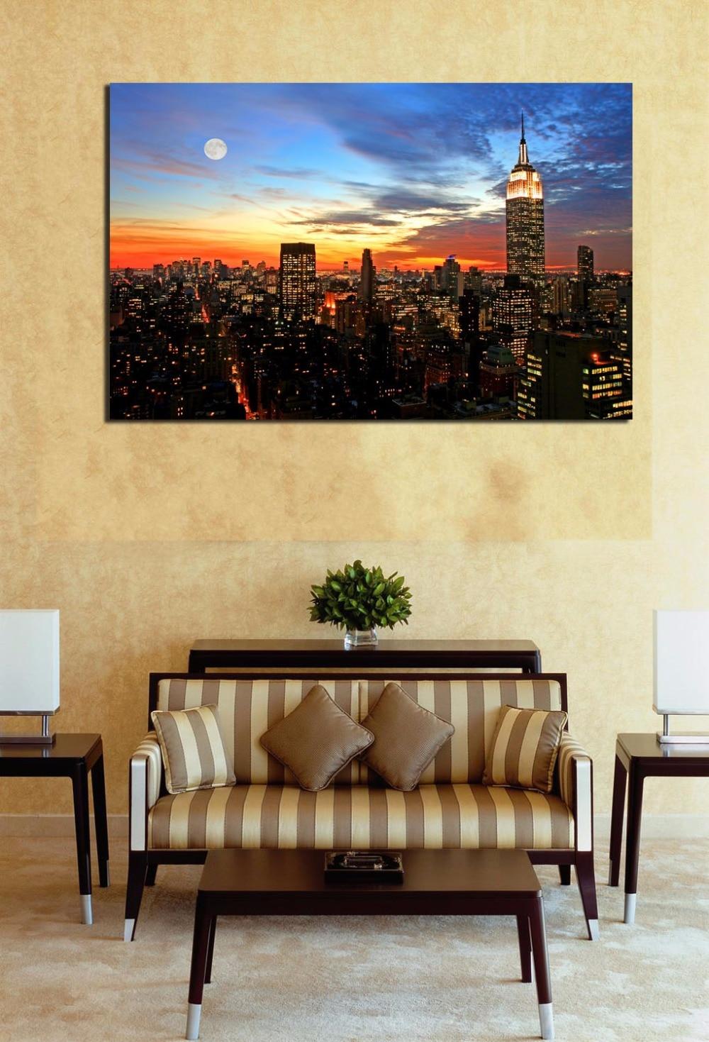 Sunset Cityscape High rise Building Painting Oil Canvas Print Art ...