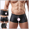 Brand high quality Male Mens faux leather penis pouch boxers shorts mens' low rise hot sexy underpants gay underwear jockstraps