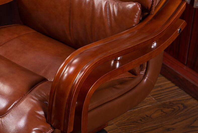 Simple office chair.  Real leather computer chair. Home can lie in front chair.022