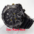 Parnis 45mm black dial date Luminous PVD case and turning bezel Full chronograph quartz movement men's watch 585