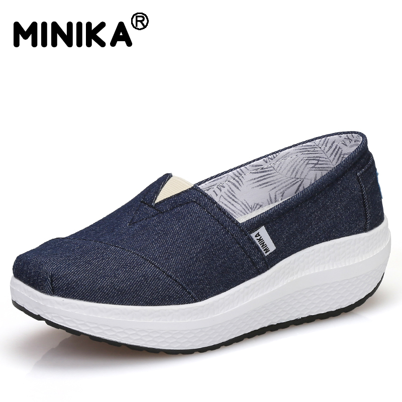 Minika 2017 New Arrival Popular Canvas Women Casual Female Breathable Height Increasing Fashion Swing Shoes Shake Tenis Feminino fashion embroidery flat platform shoes women casual shoes female soft breathable walking cute students canvas shoes tufli tenis