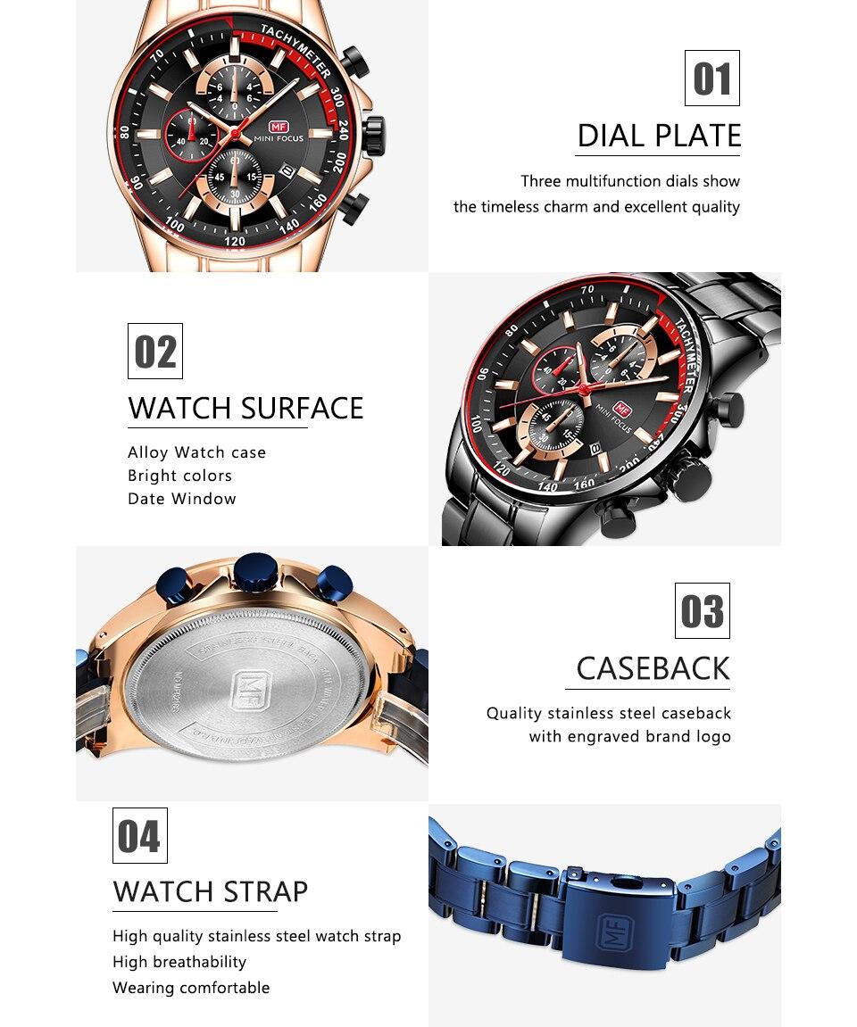 Image 4 - MINI FOCUS 2019 mode bleu montre hommes Quartz horloge métal bracelet multifonction calendrier sport hommes montres haut marque de luxeMontres à quartz   -