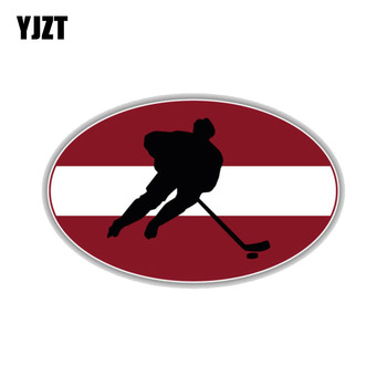 YJZT 11CM*6.8CM Latvia Flag Hockey Sports PVC Motorcycle Car Sticker 11-00265 image