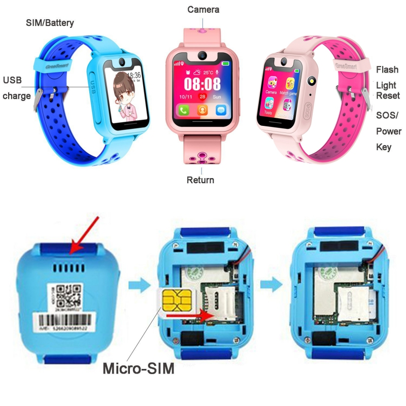 "Image 5 - Kids S6 Smart Watch GPS Tracker Watch HD 1.54"" Touch Screen Remote Camera Anti Lost SOS Alarm SIM Location Device Children watch-in Smart Watches from Consumer Electronics"