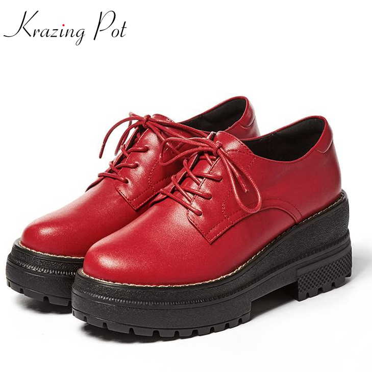 Фотография Krazing Pot genuine leather shoes women round toe lace up women British school wedges superstar young lady increased shoes L07