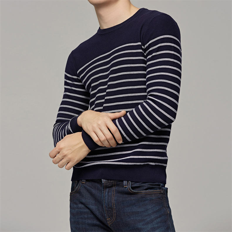 MuLS 2019 Spring Knit Sweater Men Pullover Striped Sweater Jumpers Autumn Male Cotton knitwear Youth Blue Black Grey Size M-3XL 5