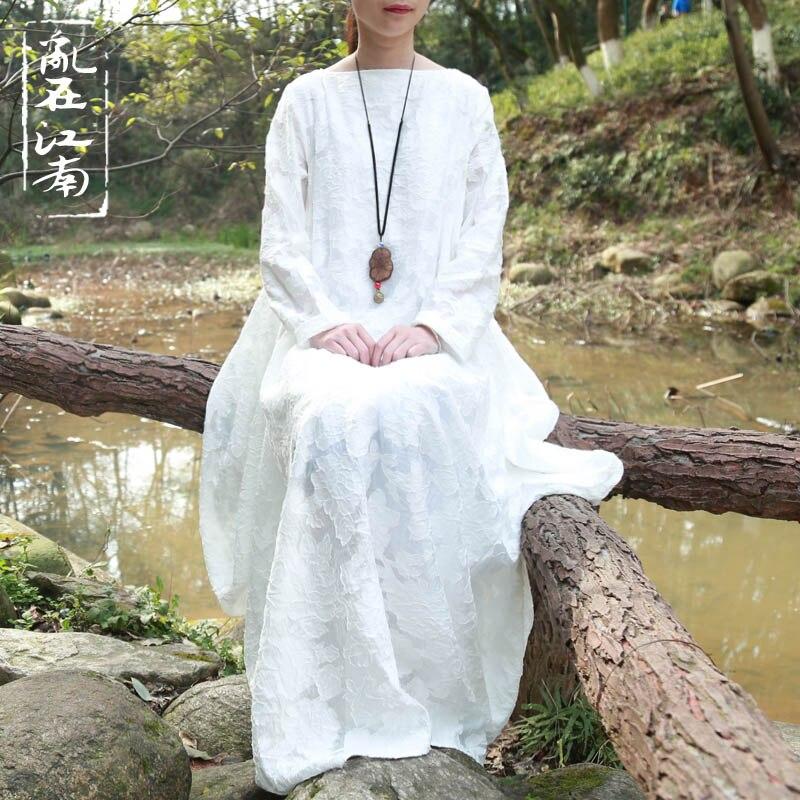 2016 Original design cut flowers silk cotton boat neck dress literary wide waist dress