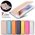 S6 borda lisa capa de couro de luxo pele Full Body capa do livro para Samsung Galaxy S6 borda G9250 escudo do telefone de proteção inserção do cartão