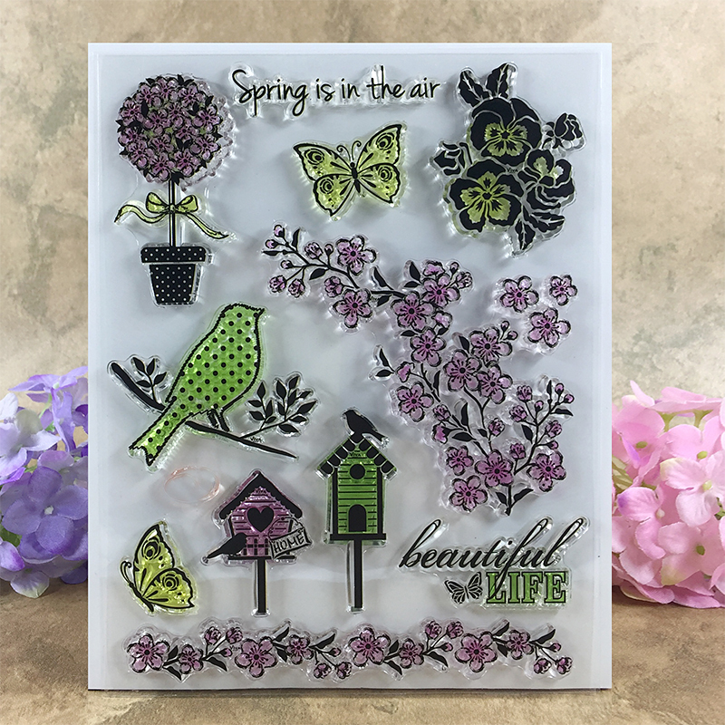 Spring is In The Air Beautiful Life  Scrapbook DIY photo cards account rubber stamp clear stamp transparent stamp  14*18 CM