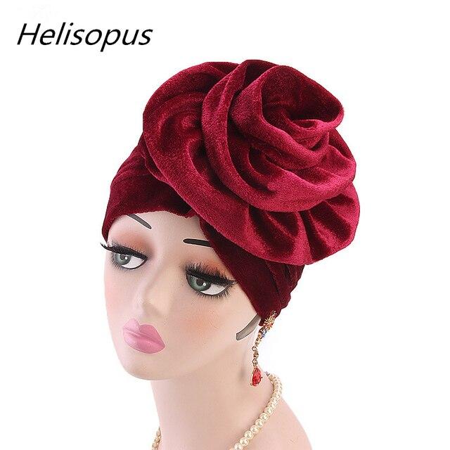 Helisopus Nuovo Modo di Velluto Cappello Turbante Delle Donne Elegante Musulmano Cappello Elastico di Modo di Perdita di Capelli Femminile Cap Chemio Cap Accessori per Capelli