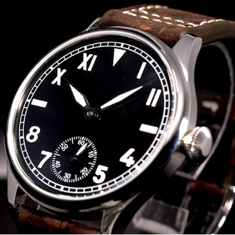 44mm parnis Black Dial Brown Leather strap 6498 Hand Winding Movement men's Watch цена и фото